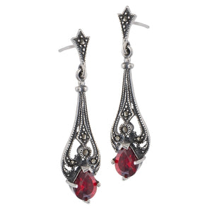 Vintage Reproduction Sterling Silver Teardrop Red Glass Marcasite Earrings - Silver Insanity
