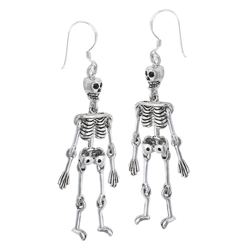 Moveable Sterling Silver Science SKELETON Bone Earrings - Silver Insanity