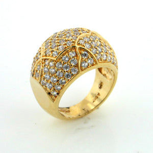 Gold over Sterling Silver Vermeil Pave Dome Ring Size 7 - Silver Insanity