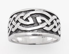 11mm Wide Celtic Knot Sterling Silver Ring Band - Silver Insanity