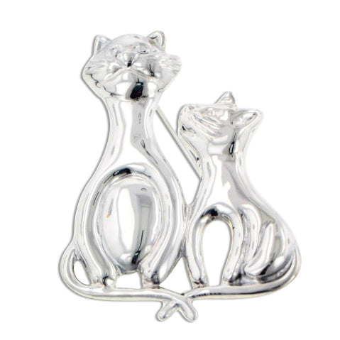 Tails Crossed - Sterling Silver Whimsical Cat and Kitten Artistic Pin Brooch