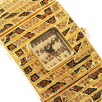 Gold-Toned Leopard Design Watch Bracelet White Crystals - Silver Insanity