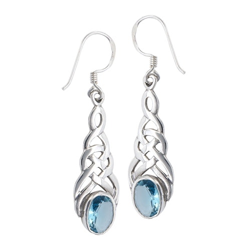Sterling Silver Celtic Knot Simulated Blue Topaz Glass Hook Earrings - Silver Insanity