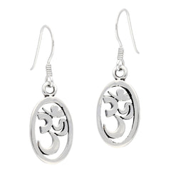 Sterling Silver OM Hindu Symbol Dangle Hook Earrings - Silver Insanity