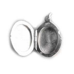 "Small Childs Oval Classy Sterling Silver Locket Pendant 16"" Necklace - Silver Insanity"