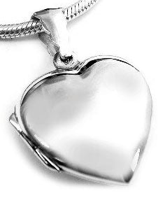 "Sterling Silver Smooth Classic Heart Locket Pendant with 18"" Snake Chain Necklace - Silver Insanity"
