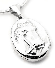 Sterling Silver Horse Head Cameo Photo Locket Pendant