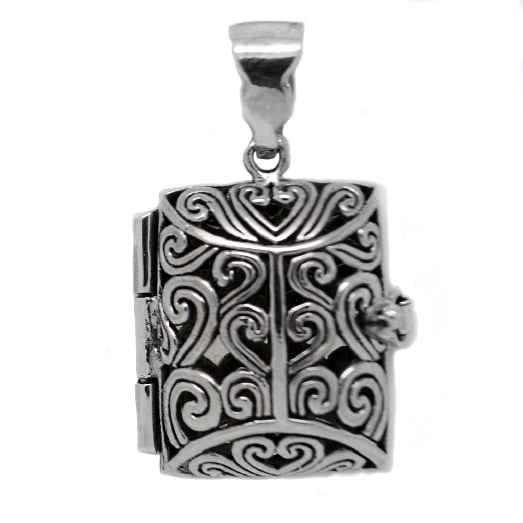 Sterling Silver Aromatherapy Filigree Locket Book Pendant for Essential Oils