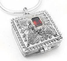 Red GARNET Poison Box Locket Sterling Silver Pendant - Silver Insanity