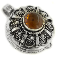 Sterling Silver Pressed Baltic Amber Poison Locket Pendant for Herbs or Prayers - Silver Insanity