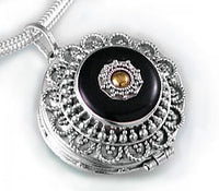 Sterling Silver Black Agate Brass Shield Poison Locket Pendant - Silver Insanity