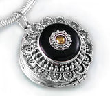 Sterling Silver Black Agate Brass Shield Poison Locket Pendant