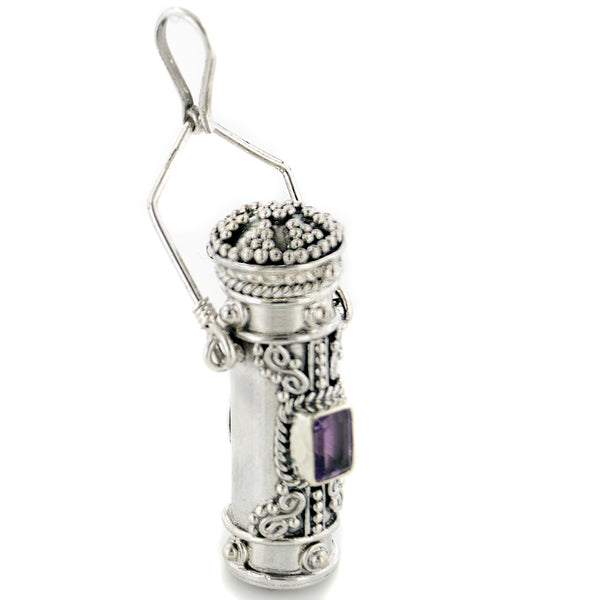 Tall Sterling Silver Moonstone, Amethyst, Garnet, or Peridot Poison Bottle Pillbox Urn Pendant - Silver Insanity
