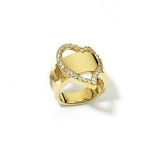 Gold over Sterling Silver Vermeil Eternity Heart Ring - Silver Insanity