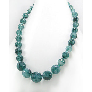 "Faceted Dark Green Candy Jade 17"" Sterling Silver Necklace - Silver Insanity"