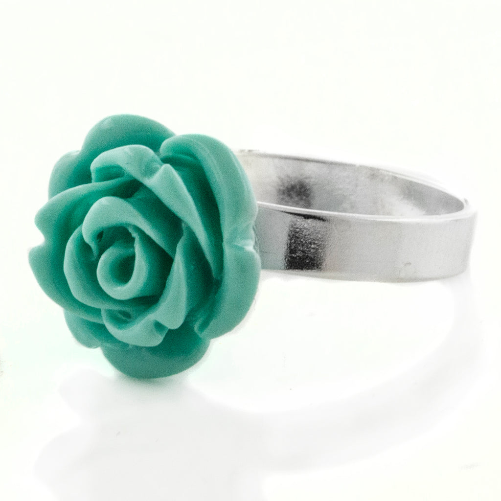 Carved Rose of Beauty 3D Sterling Silver Turquoise Flower Ring