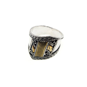 Sterling Silver Medieval Brass Wide Armor SCA Band Ring - Silver Insanity