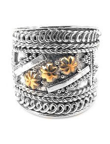 Sterling Silver Squires Gold Star Armor Ring