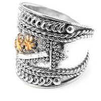 Sterling Silver Squires Gold Star Armor Ring - Silver Insanity