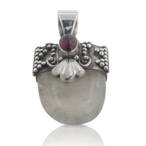 Rutilated Quartz or Hair Stone with Garnet Sterling Silver Pendant - Silver Insanity