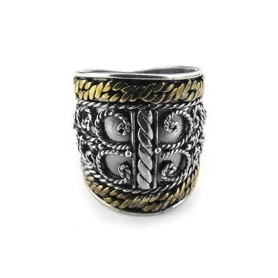 Sterling Silver Scrollwork Armor Tribal Band Ring - Silver Insanity