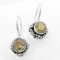 New Small Round Sterling Silver YELLOW Citrine Earrings - Silver Insanity