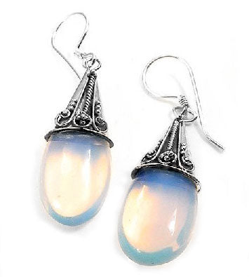 Sterling Silver Sea-Opal Loose Glass Teardrop Earrings - Silver Insanity