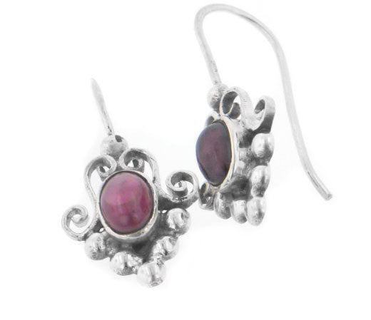 Sterling Silver Victorian Type Red Garnet Hook Earrings - Silver Insanity