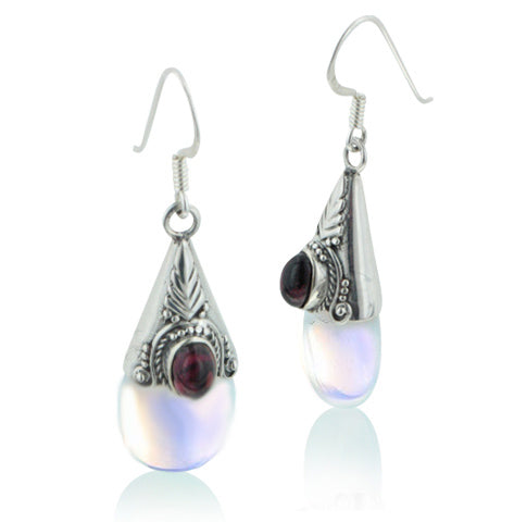 Sterling Silver Loose Opalescent Glass Garnet Earrings