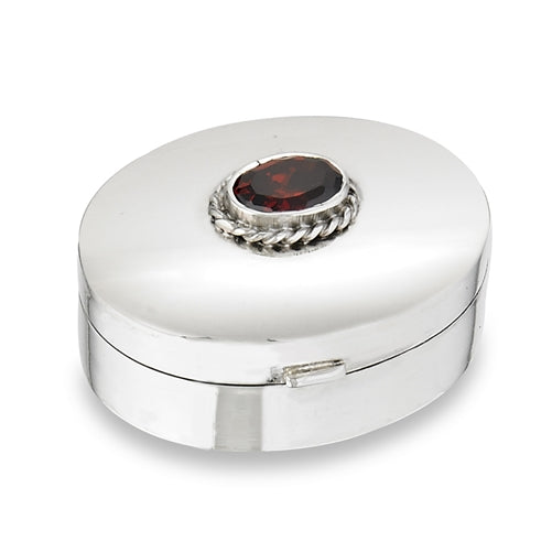 PillBox Sterling Silver Red Glass Classic Oval Pill Box