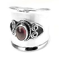 Sterling Silver Garnet Lady Knight Armor Ring - Silver Insanity