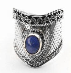 Sterling Silver Medieval BLUE LAPIS Armor Ring - Silver Insanity