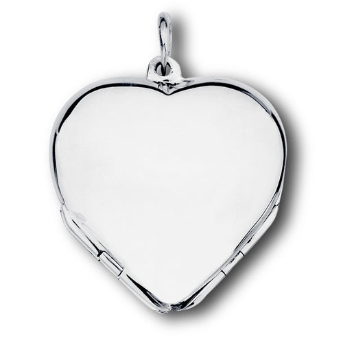 Sterling Silver Four 4 Panel Heart Photo Locket Pendant - Silver Insanity