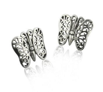 Sterling Silver Filigree Butterfly Post Studs Earrings - Silver Insanity