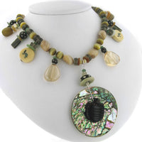 Tiger Eye Turtle Abalone Shell Sterling Silver Necklace - Silver Insanity