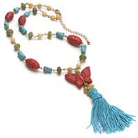 DM Carved Red Faux Cinnabar Butterfly Tassel Necklace - Silver Insanity