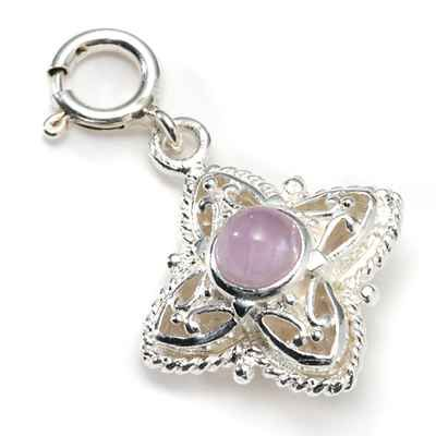 Boxed Sterling Silver Maltese Cross or Star and Cape Amethyst Charm Pendant