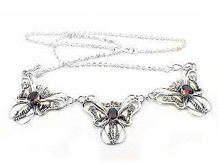 Unique Sterling Silver Genuine Garnet Butterfly Necklace - 17