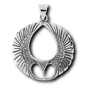 Winged Sterling Silver Spread Open Phoenix Wing Pendant - Silver Insanity