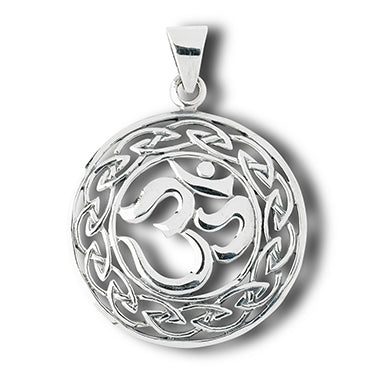 Om Hindu and Celtic Knot Sterling Silver Charm Pendant