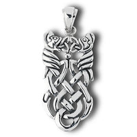 Double Dragon Celtic Knotted Sterling Silver Pendant - Silver Insanity