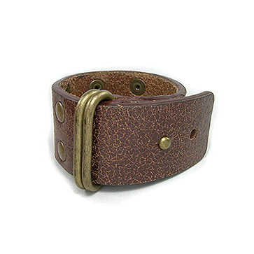 Brass and Brown Genuine Leather Cuff Bracelet Wristband - Silver Insanity