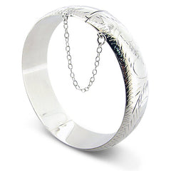 "5mm (3/16"") or 9mm (3/8"") Etched Hinged Sterling Silver Latching Bangle Bracelet - Silver Insanity"