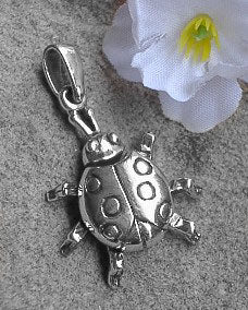 Sterling Silver Large Moveable LADYBUG Charm Pendant