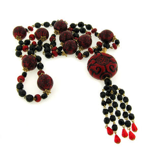 "39"" Layered Wrapping Carved Red and Black Beaded Asian Style Tassel Necklace - Silver Insanity"