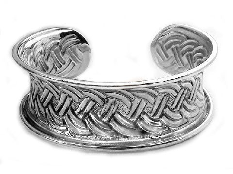 Wide Sterling Silver Braided Celtic Knot Cuff Bracelet - Silver Insanity