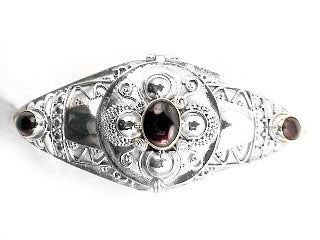 Medieval GARNET Sterling Silver Poison Cuff Bracelet - Silver Insanity