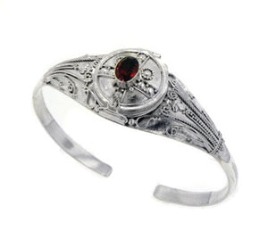 Medieval Sterling Silver Genuine Garnet Locket Box Poison Cuff Bracelet - Silver Insanity