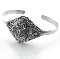 Sterling Silver Egyptian Scarab Poison Box Locket Cuff Bracelet - Silver Insanity