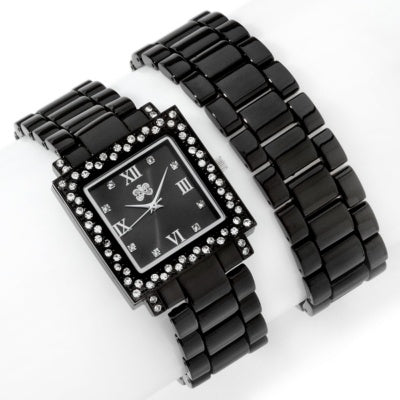 Black Curations with Stefani Greenfield Wrap Watch and Bracelet Set - Silver Insanity